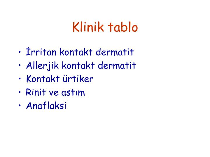 Klinik tablo