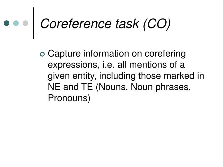 Coreference task (CO)