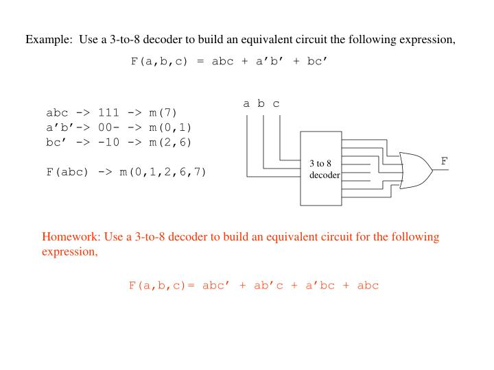Example:  Use a 3-to-8 decoder to build an equivalent circuit the following expression,