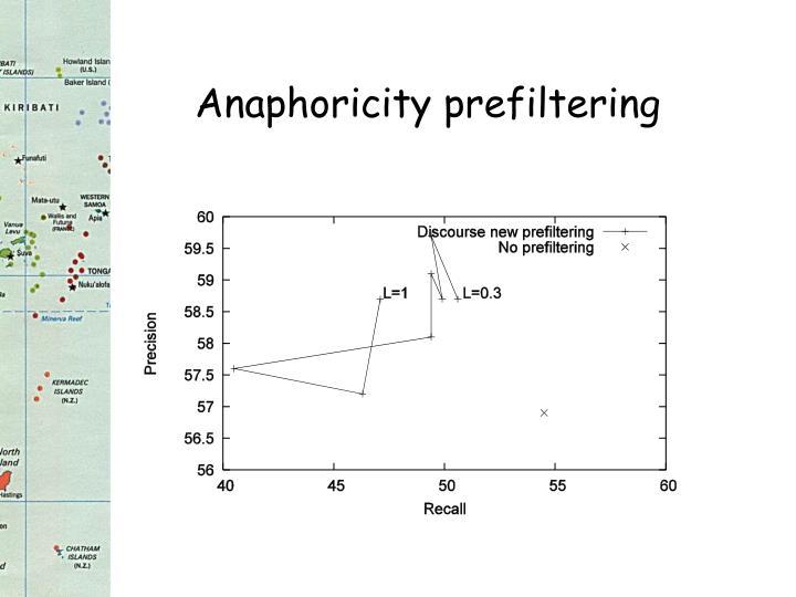 Anaphoricity prefiltering