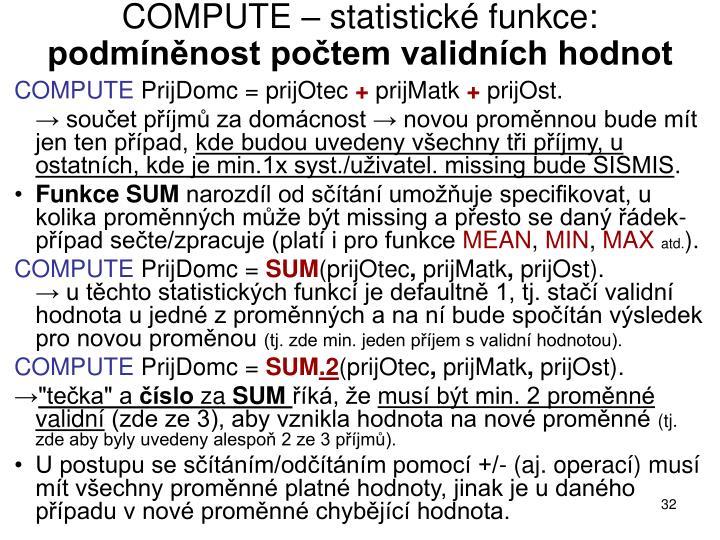 COMPUTE – statistické funkce: