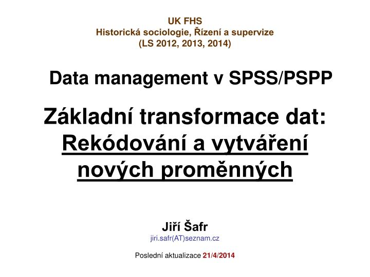 Data management v spss pspp