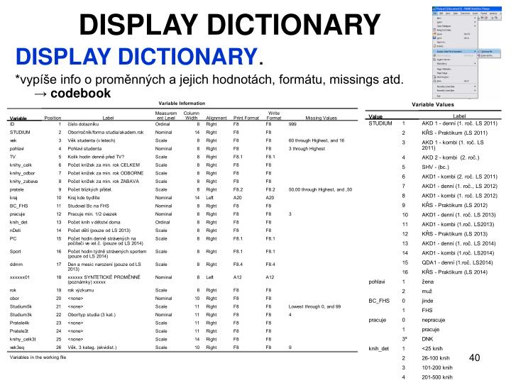 DISPLAY DICTIONARY