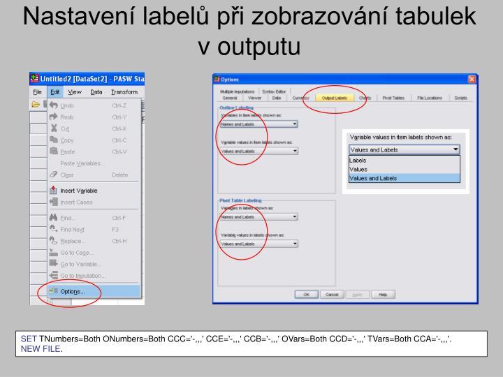 Nastavení labelů při zobrazování tabulek