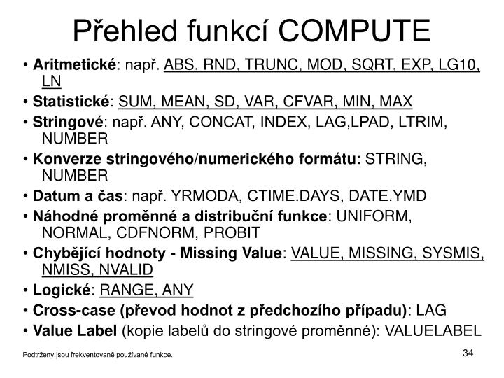 Přehled funkcí COMPUTE