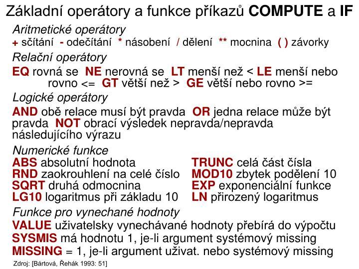 Základní operátory a funkce příkazů