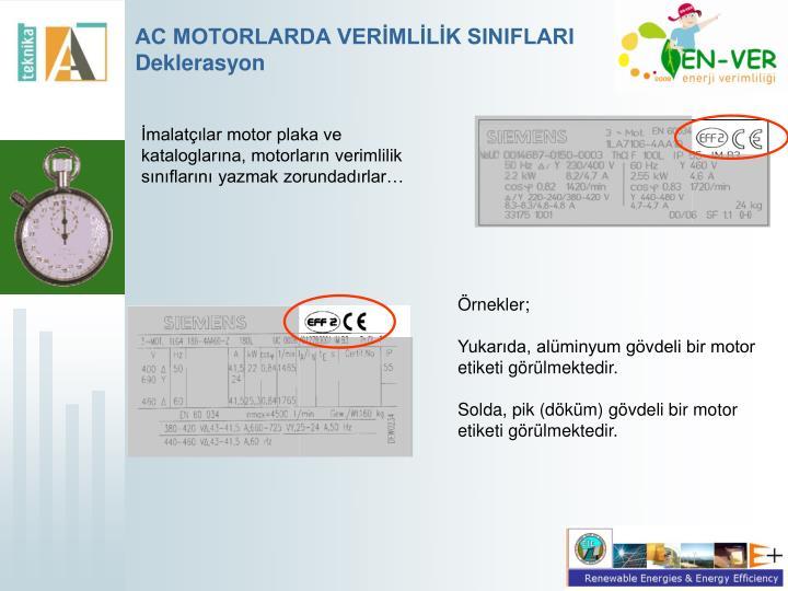 AC MOTORLARDA VERİMLİLİK SINIFLARI