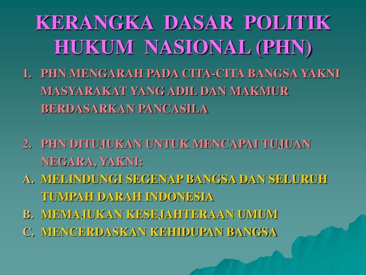 KERANGKA  DASAR  POLITIK  HUKUM  NASIONAL (PHN)