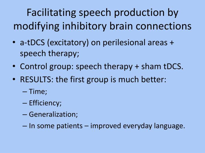 Facilitating speech production by modifying inhibitory brain connections