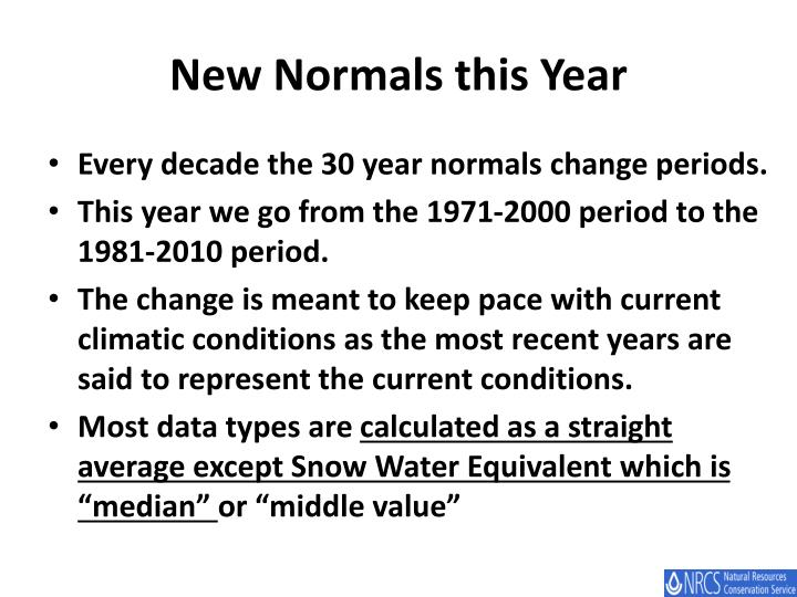 New Normals this Year
