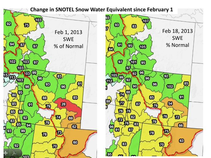 Change in SNOTEL Snow Water Equivalent since February 1