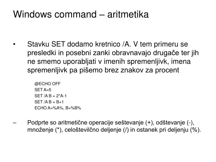 Windows command – aritmetika