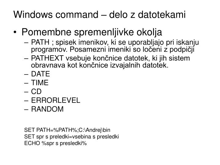 Windows command delo z datotekami