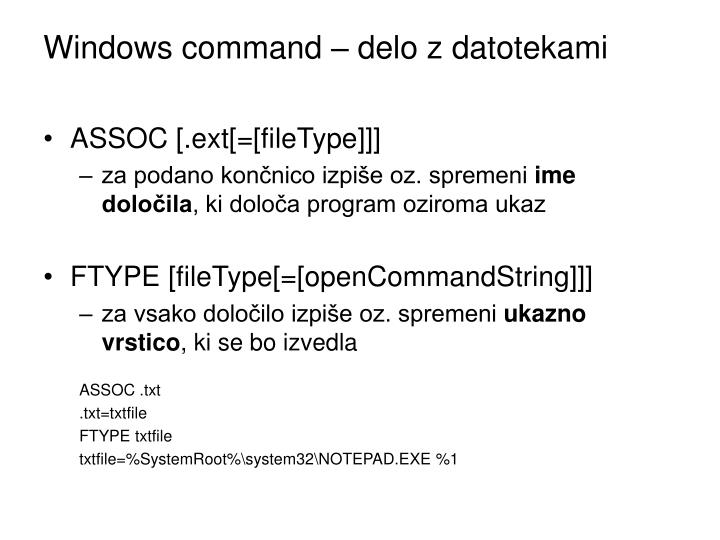 Windows command – delo z datotekami