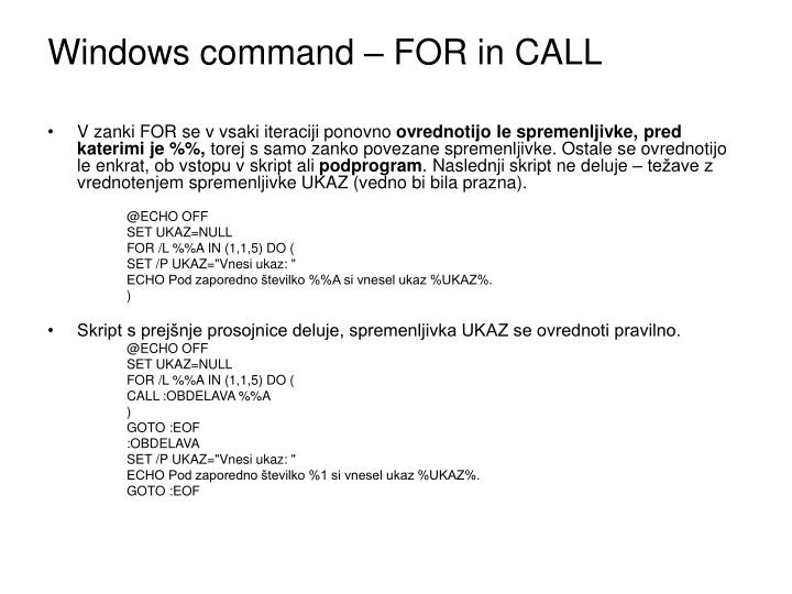 Windows command – FOR in CALL