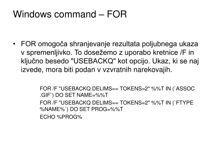Windows command – FOR