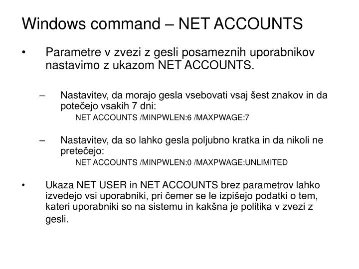 Windows command – NET ACCOUNTS