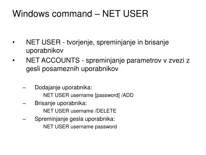 Windows command – NET USER