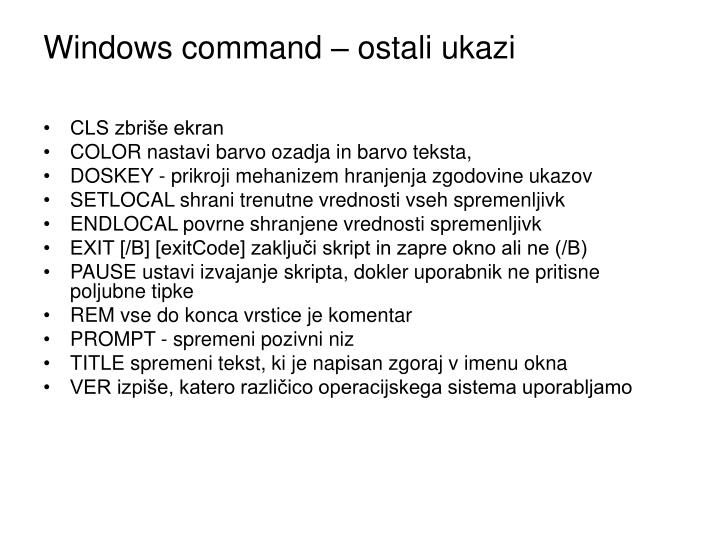 Windows command – ostali ukazi