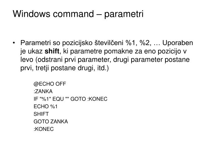 Windows command – parametri