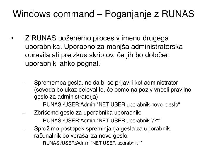 Windows command – Poganjanje z RUNAS