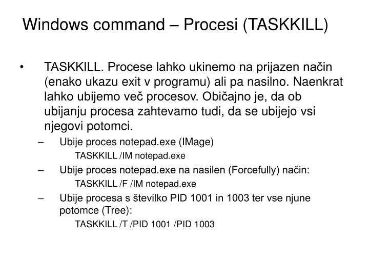 Windows command – Procesi (TASKKILL)