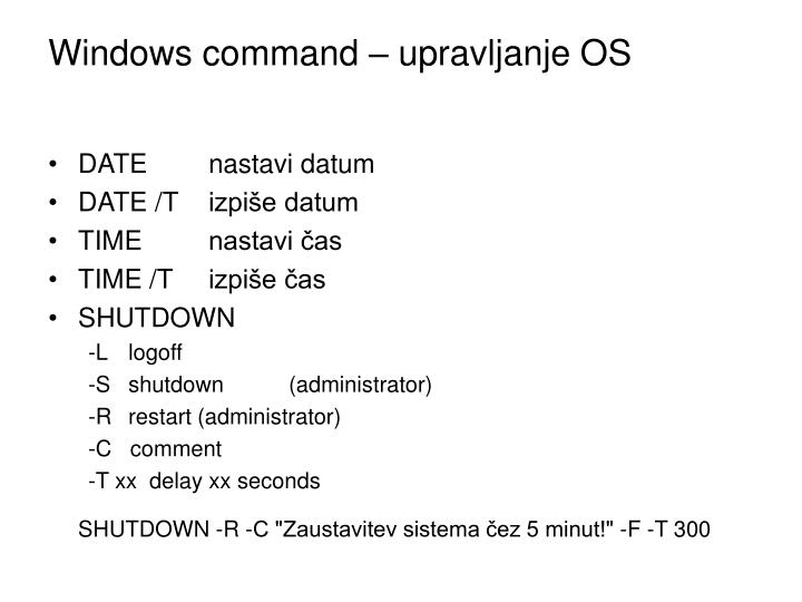 Windows command – upravljanje OS