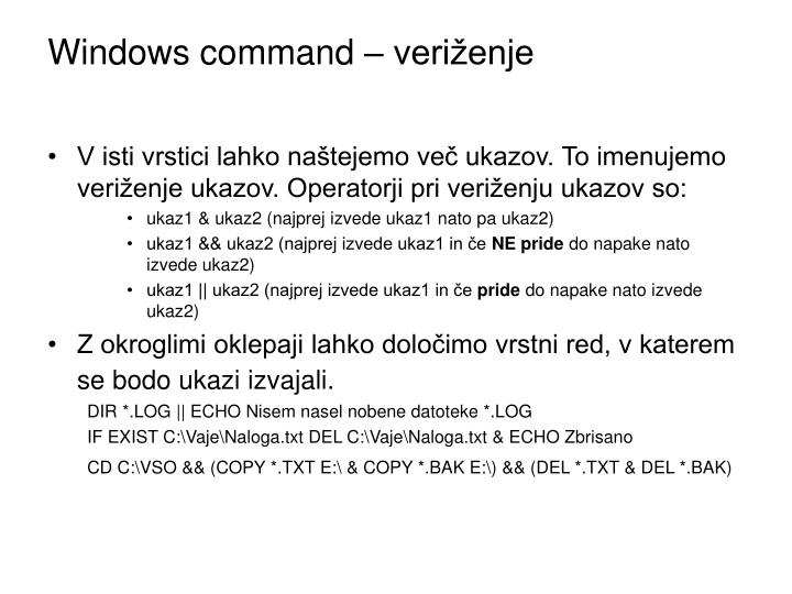 Windows command – veriženje