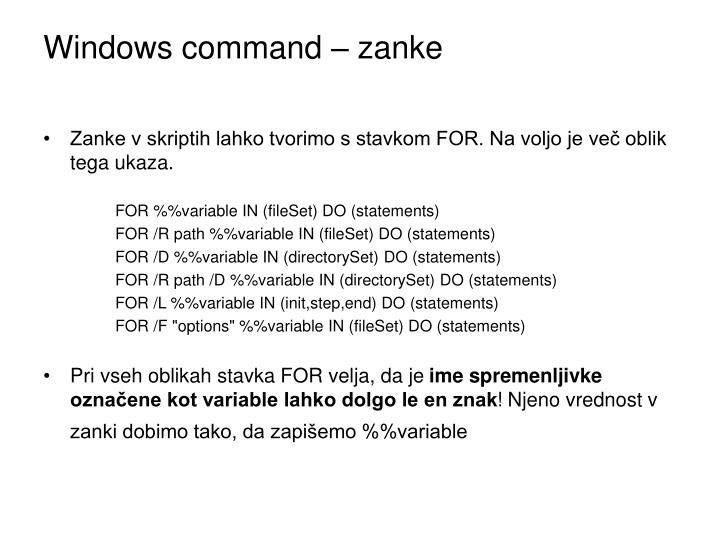 Windows command – zanke