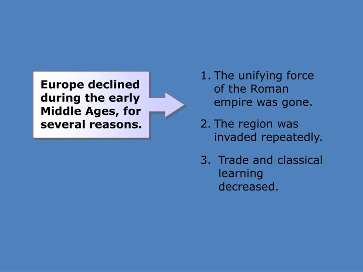 The unifying force of the Roman empire was gone.