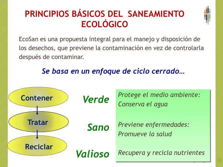 PRINCIPIOS BÁSICOS DEL  SANEAMIENTO ECOLÓGICO