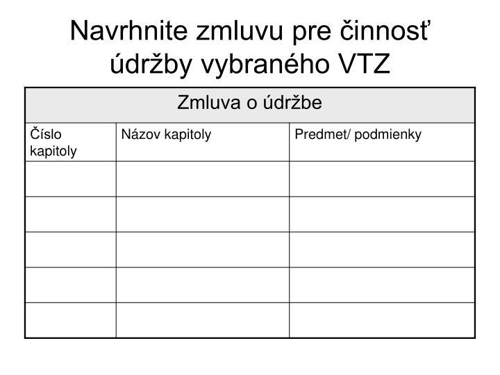 Navrhnite zmluvu pre činnosť údržby vybraného VTZ