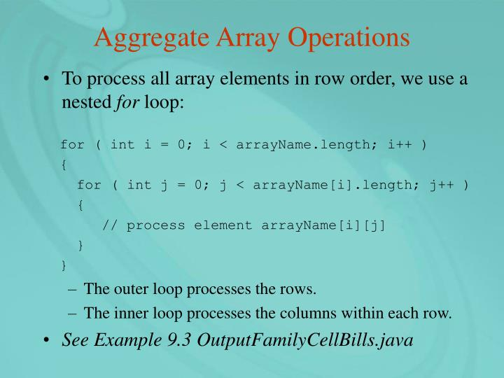 Aggregate Array Operations