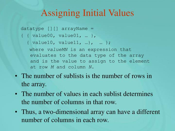 Assigning Initial Values