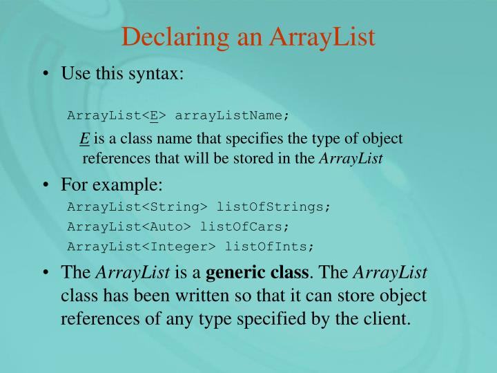 Declaring an ArrayList