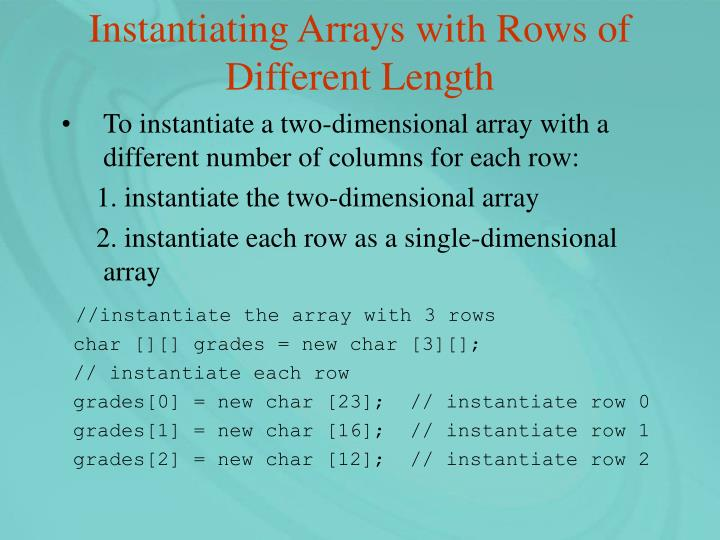 Instantiating Arrays with Rows of Different Length