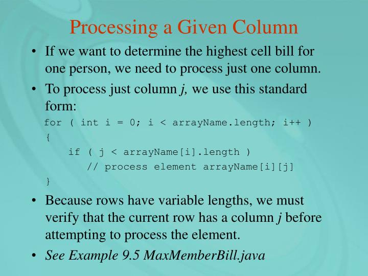 Processing a Given Column