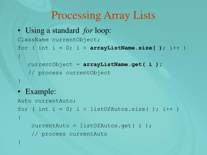 Processing Array Lists