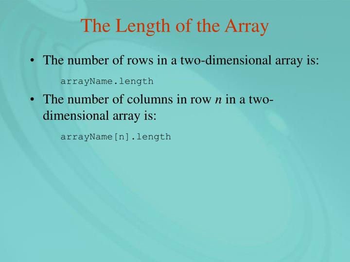 The Length of the Array