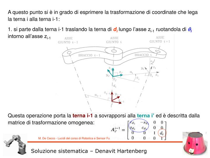 A questo punto si è in grado di esprimere la trasformazione di coordinate che lega la terna i alla terna i-1: