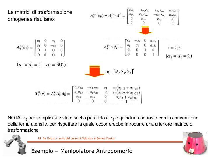 Le matrici di trasformazione omogenea risultano: