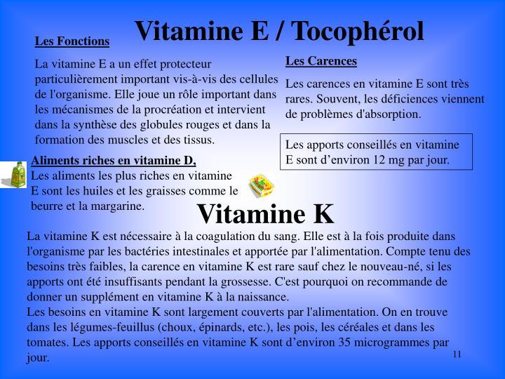 Vitamine E / Tocophérol