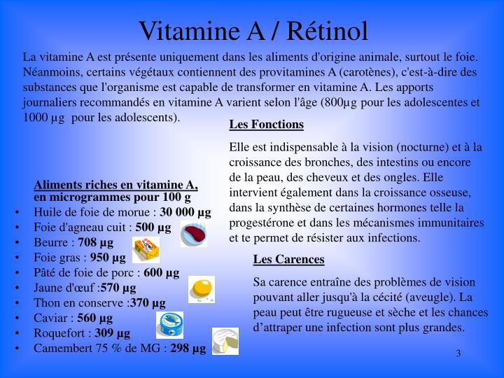 Vitamine A / Rétinol