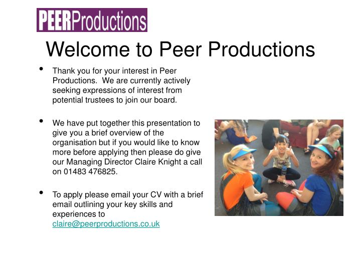 Welcome to peer productions