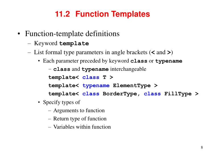 11.2  	Function Templates