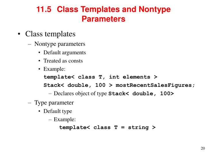 11.5  	Class Templates and Nontype Parameters