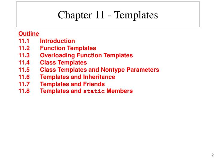 Chapter 11 templates