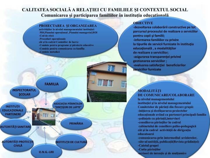 CALITATEA SOCIALĂ A RELAŢIEI CU FAMILIILE ŞI CONTEXTUL SOCIAL