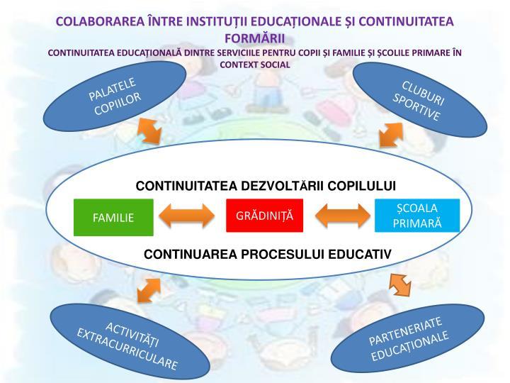 COLABORAREA ÎNTRE INSTITUȚII EDUCAȚIONALE ȘI CONTINUITATEA FORMĂRII
