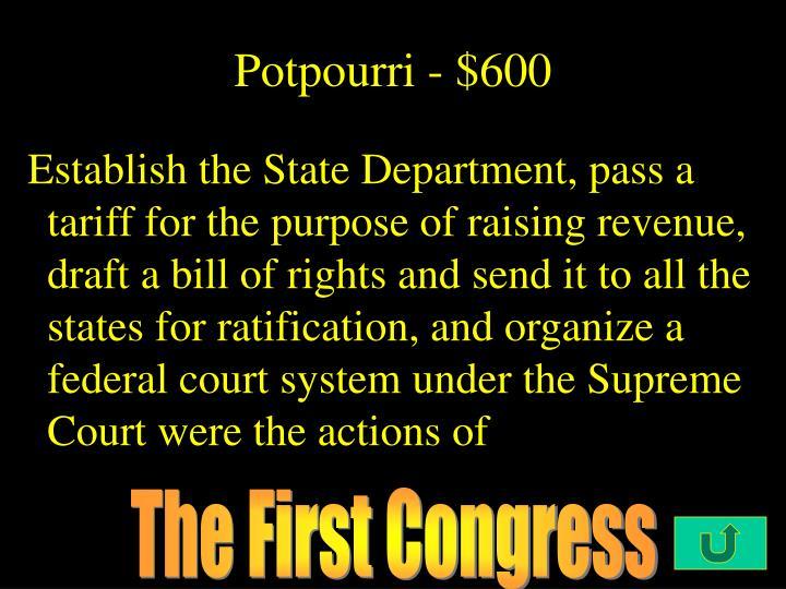 Potpourri - $600